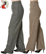 DANCING DAYS by BANNED LADY LUCK wide leg 40s HERRINGBONE TROUSERS BROWN BLACK