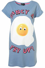 TOPSHOP FANCY A FRY UP ? PRINTED VEST TEE PYJAMA PJ TUNIC TOP UK 12 EUR 40  NEW