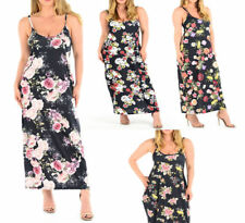 Womens ladies Strap Strappy Floral Flower Summer Long Maxi Dress