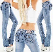 Women's straight leg Jeans stretch light Blue faded mid rise Trousers UK 8 -16