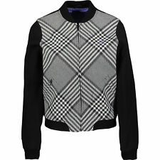 FRED PERRY Women's  Black & White Prince of Wales Bomber UK 8 14