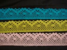 4 yards of baby pink,turquoise or lime green scalloped crochet trim 1 3/8''W