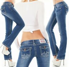 Women's straight leg Jeans stretch Blue washed mid rise Trousers UK 8 -16