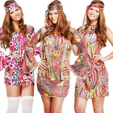 1960s Hippie Ladies Fancy Dress 60s Groovy Hippy Psychedelic 70s Womens Costume