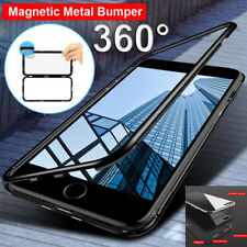 Luxury Magnetic Metal Frame Tempered Glass Back Cover Case For iPhone 6 7 8 Plus