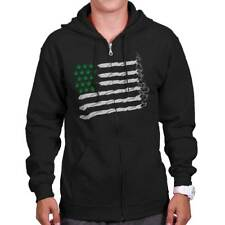 Funny Cannabis American Flag 420 Stoner CBD THC USA Joint Zipper Hoodie