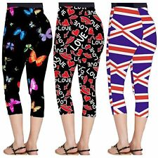 Womens All Over Love Lips Butterfly Flag Print Gym Workout Stretchy 3/4 Leggings
