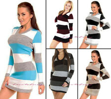 Womens Jumper Dress Ladies Long Sleeve V Neck Stripe Knitted Jumper Top UK8-14.