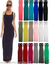 New Ladies Muscle Racer Back Sleeveless Womens Bodycon Ladies Long Maxi Dress