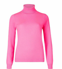 M & S AUTOGRAPH  PURE CASHMERE HOT PINK POLO NECK JUMPER