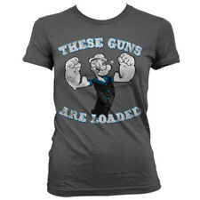 Official Popeye - These Guns Are Loaded Girly Women's Fitted T-Shirt S-XXL