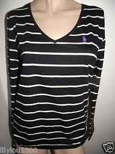 RALPH LAUREN BLACK STRIPE LONG SLEEVE STRETCH TOP SIZE S NWT RRP£50