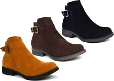 New Womens Ankle Boots Faux Suede Fashion Buckle Zip Low Mid Heel UK Size 3-8