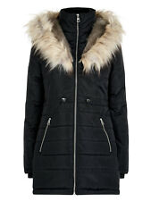 New Look Coat Padded Puffer Faux Fur Collar Hooded Black Winter Jacket Size 8-16