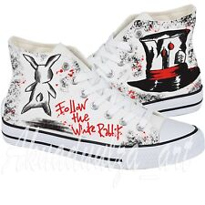 Follow The Rabbit / Alice in Wonderland Hand Painted Custom Canvas Shoes