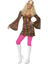 Adult 60s 70s Hippy Flower Power CND Ladies Fancy Dress Costume Party Outfit