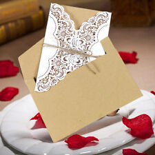50x Luxury Hollow Laser Cut Wedding Invitations Cards Kit Set with Envelopes