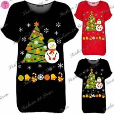 Ladies Womens Snowman Tree Candy Batwing Xmas Oversized Christmas Baggy T Shirt