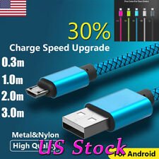 0.3/1/2/3M Long Braided Micro USB Data Charging Cable For Android Samsung Galaxy