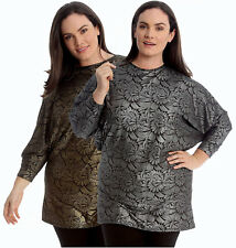 New Womens Plus Size Top Textured Floral Print Batwing Style Party Tunic 14-28