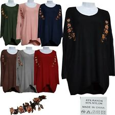 BN Womens Floral Embroidered Casual Scoop Neck Winter Knitted Jumper Sweater Top