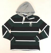 $98 Men Polo Ralph Lauren Striped Pullover Hooded Skull Rugby Shirt Hoodie M XXL