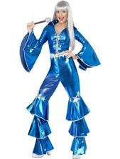 Adult 70s Blue Dancing Dream Queen Ladies Fancy Dress Costume Party Outfit