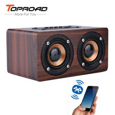 TOPROAD Wooden Wireless Bluetooth Speaker Portable HiFi Shock Bass Altavoz TF