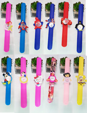 Boys Girls Cartoon Slap Snap On Silicone Fashion Wrist Watch Children Kids Watch