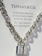 Tiffany & Co Sterling Silver 1837 Padlock Charm Necklace