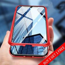 For iPhone X 6 7 8 Plus Magnetic Adsorption Metal Case Tempered Glass Cover Red
