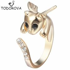 3D Angel Wing Cat Ring Gold And Silver Color With Diamonds
