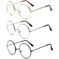 Women Men Clear Lens Round Circle Eye Glasses Large Oversized Metal Frame Nerd