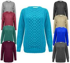 LADIES ARAN CABLE KNIT JUMPER SWEATER WOMEN KNITTED PULLOVER TOP PLUS SUZE 16-30