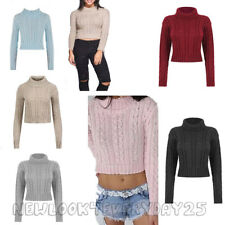 Ladies New Womens Knitted Polo Neck Chunky Knit Cable Sweater Jumper Crop Top