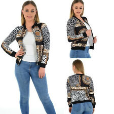 New Ladies Womens Baroque Chain Leopard Print Bomber Zipper Jacket New UK 8-22