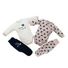 Baby Infant Girls Set Outfit Bodysuit Trousers100% Cotton **NEWBORN/0-3 Months