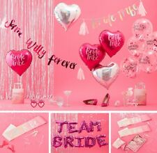 PINK IRIDESCENT BRIDE TRIBE TEAM BRIDE TO BE HEN PARTY ACCESSORIES SASHES GAMES