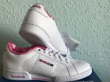 8b083d3f8e8 Womens Reebok NPC White Pink Leather Trainer Ladies Classic Trainers Size  UK 4