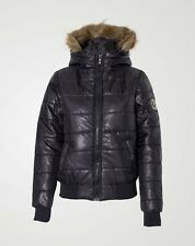 New Ladies Padded Quilted Fur Hooded Shny Badge Puffer Bomber Winter Jacket Coat