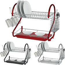 2 TIER CHROME PLATE DISH CUTLERY CUP DRAINER RACK DRIP TRAY PLATES HOLDER (RED)
