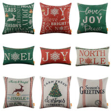 Merry Christmas Pillow Covers Green Red Noel Joy Xmas Cushion Cover Holiday 18""