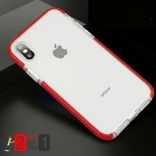 For iPhone X 7 8 Plus XR XS Max Soft Silicone Double Protective Red case Cover