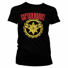 Officially Licensed Captain Marvel Distressed Logo Women's T-Shirt S-XXL Sizes