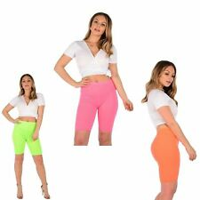 Womens Summer Bright Neon Colour Stretchy Sports Gym Dance Cycling Shorts