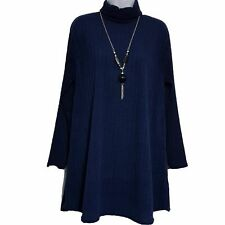 Womens Navy Polo Turtle Neck Stretchy Soft Jersey Jumper Shirt Top & Necklace