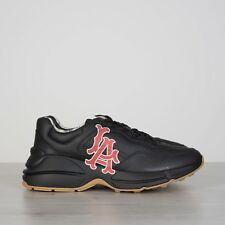 GUCCI 890$ Men's Rhyton Sneakers With LA Angels Print In Black Leather