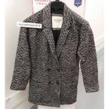 ABERCROMBIE & FITCH WOMENS MADELINE HERRINGBONE COAT JACKET SIZE MEDIUM A&F