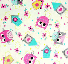 Owls & Birdhouses Cotton Fabric Craft Quilting Upholstery Fabric Fat Quarter