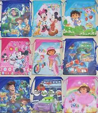 Cartoon Drawstring Canvas type Backpack School Bag for Gym, books, lunch etc